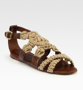 Tory Burch Fleur Leather Macramé Sandals - Lyst