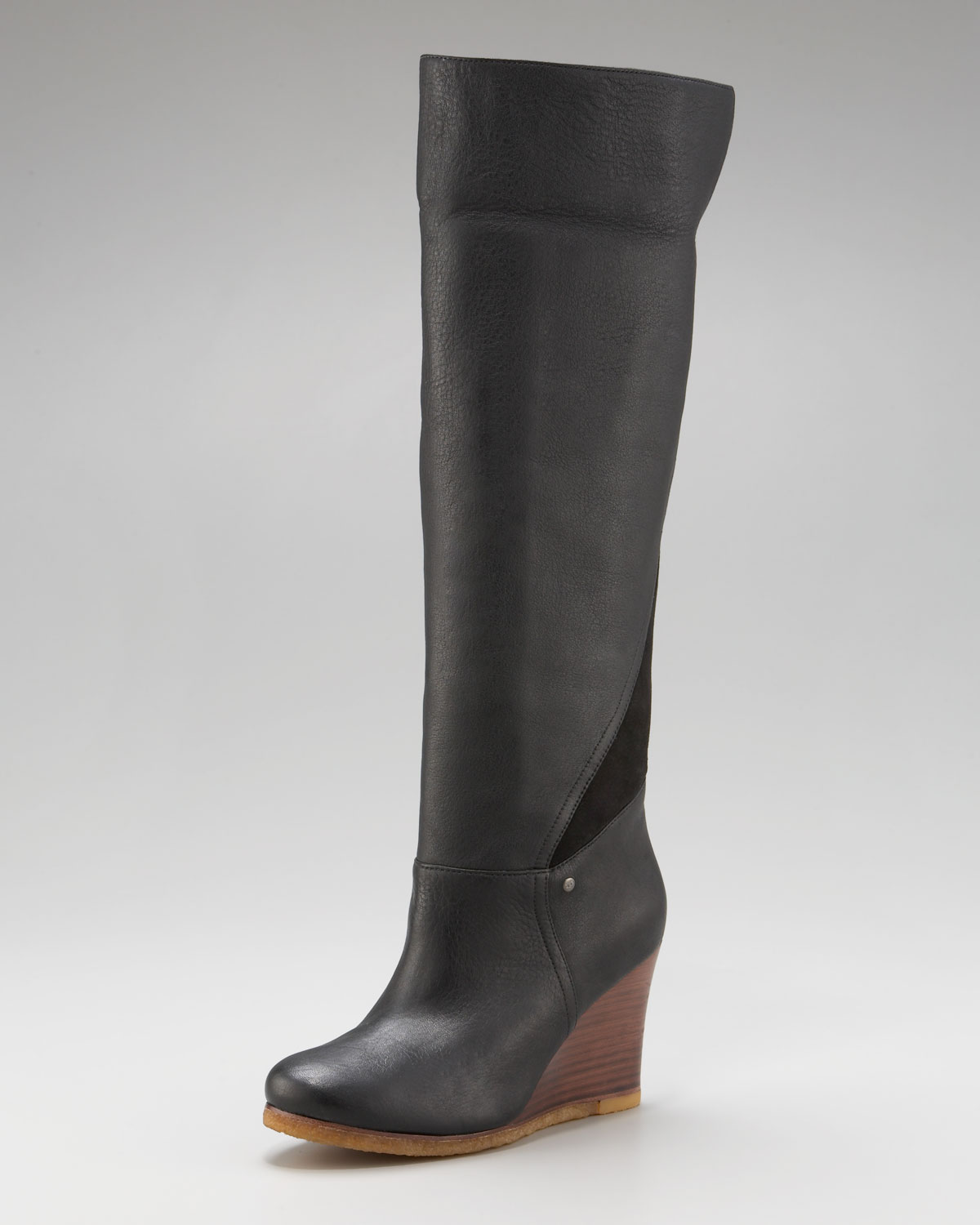 ugg ravenna cuffable wedge boot in black honey lyst