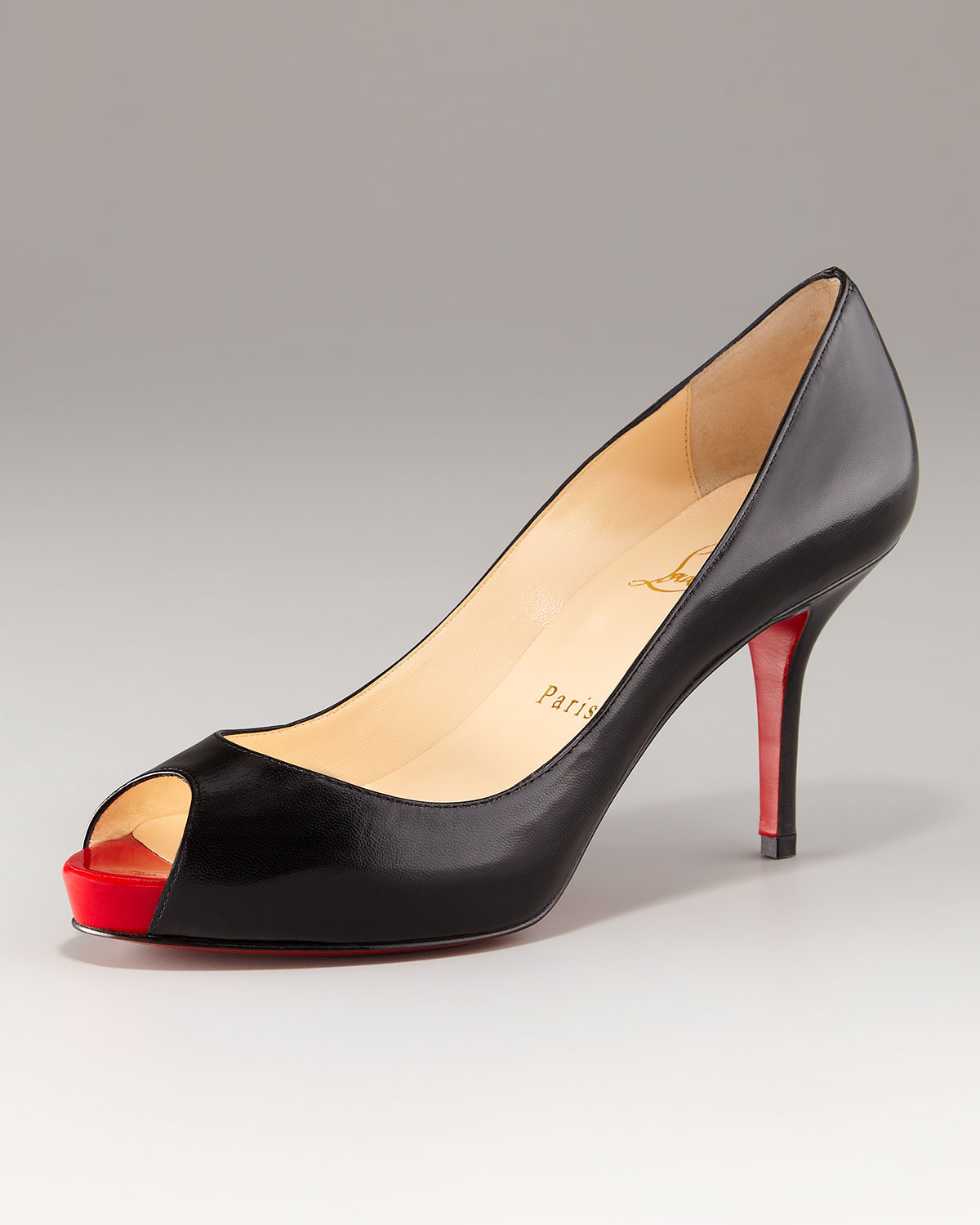 Lyst - Christian Louboutin Mater Claude Open-toe Mid-heel Pump in Black fc48d7978a