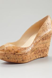 Christian Louboutin Une Plume Coated Cork Platform Wedge - Lyst