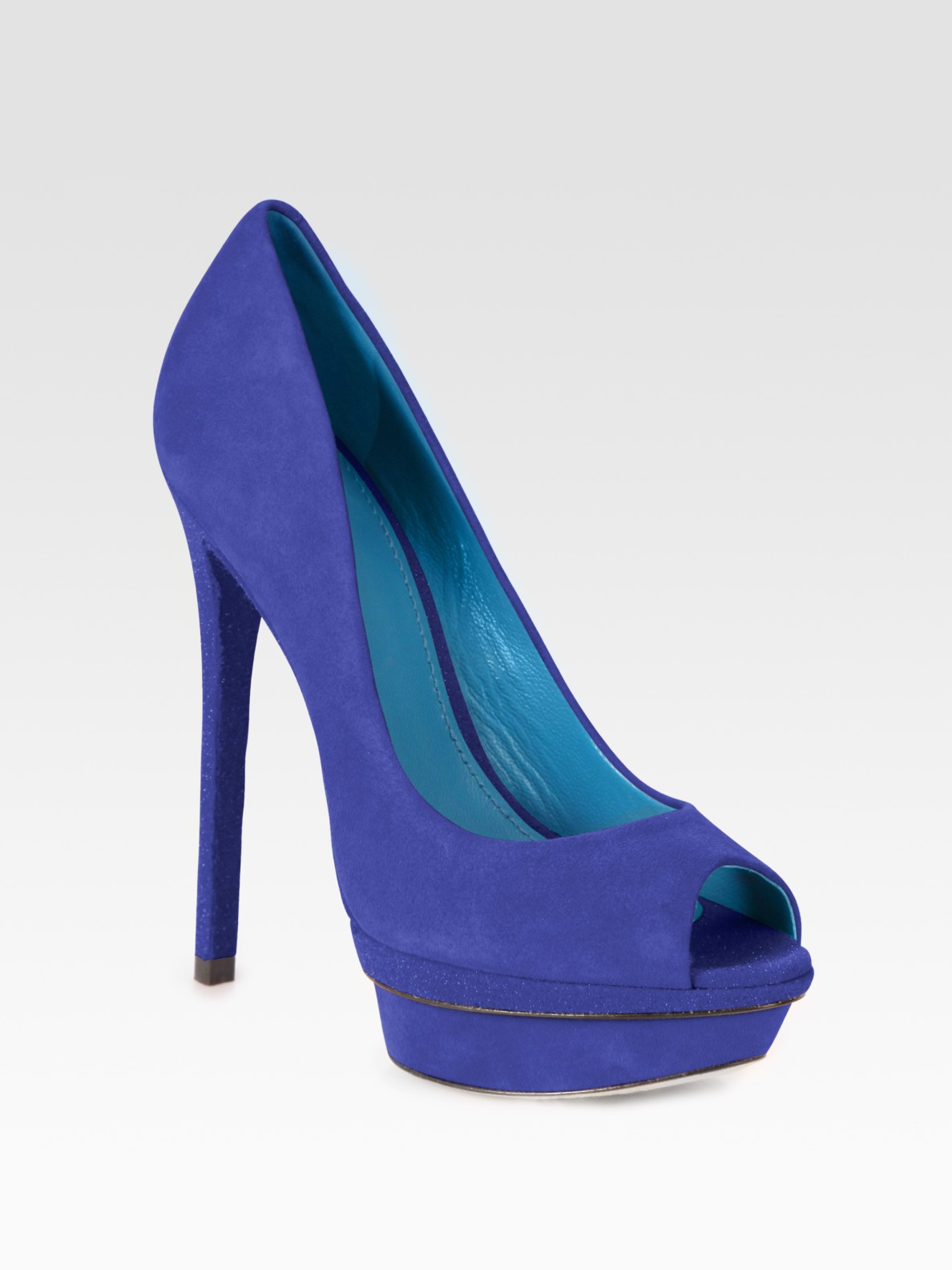 B Brian Atwood Suede Platform Peep-Toe Pumps