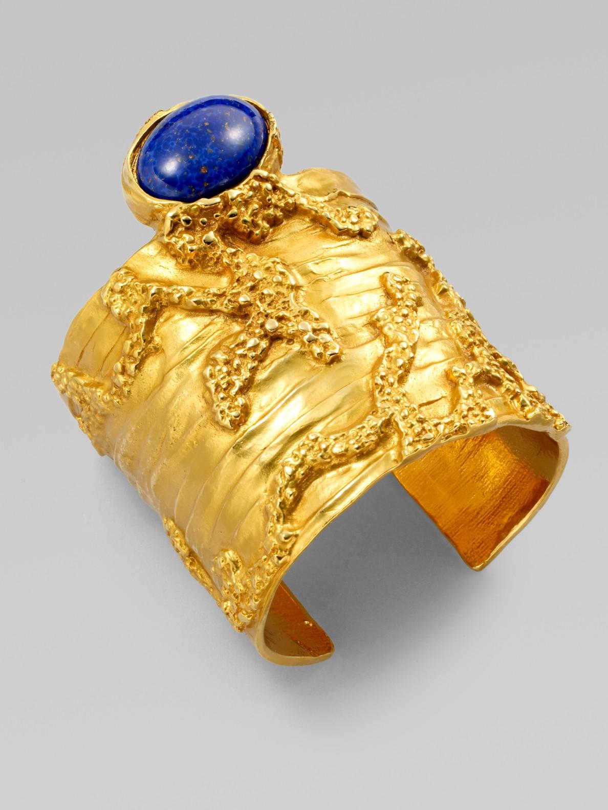 60e9a3dd143 Saint Laurent Arty Wide Textured Bracelet in Blue - Lyst