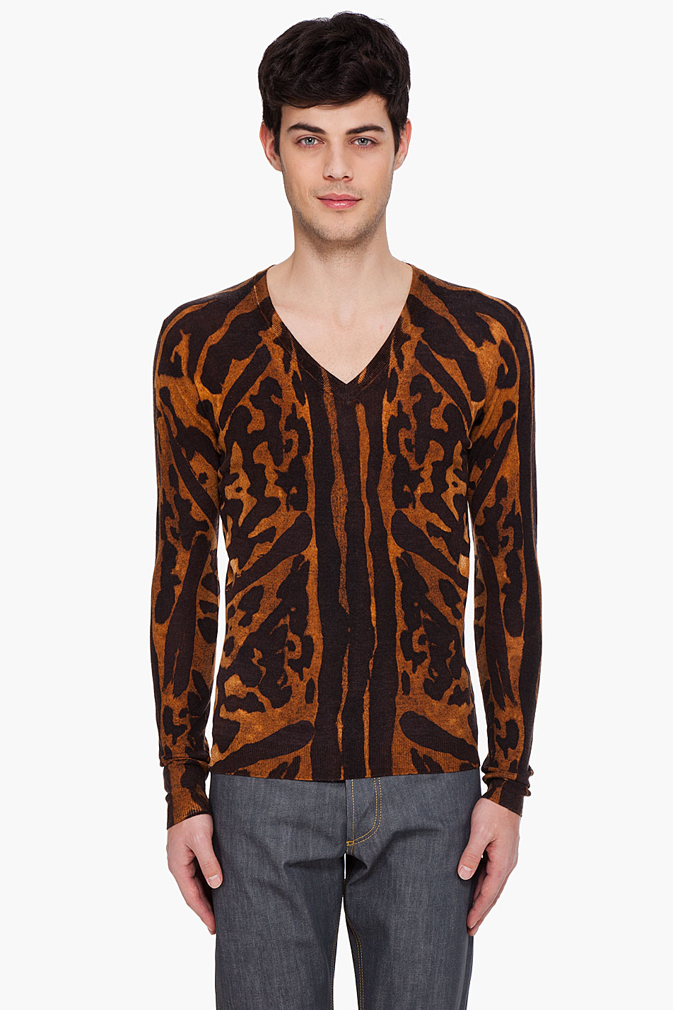 Alexander mcqueen Leopard V-neck Sweater for Men | Lyst