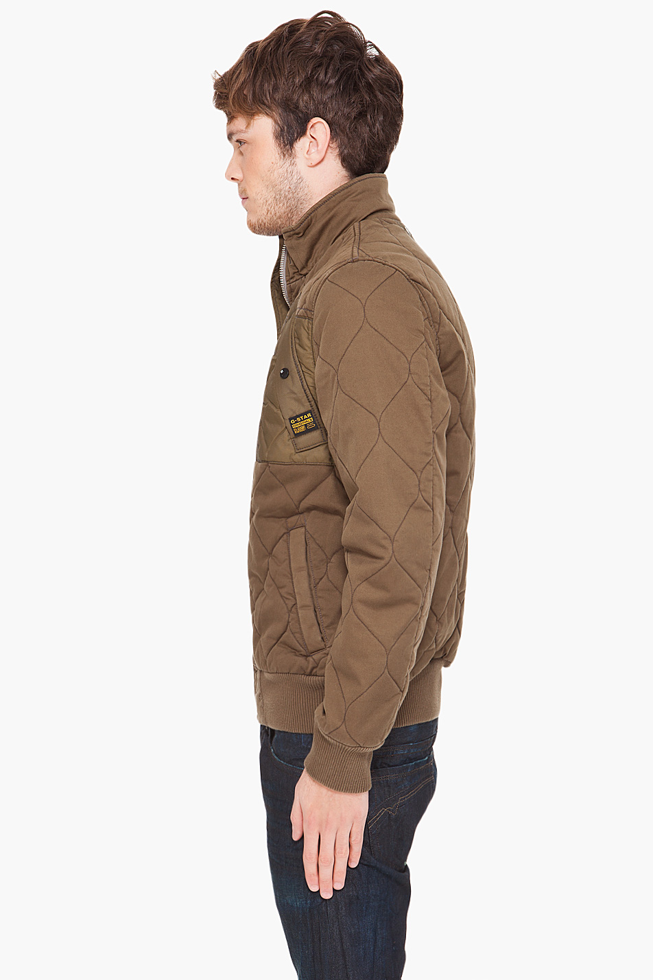 g star raw vulcan bomber jacket in brown for men lyst. Black Bedroom Furniture Sets. Home Design Ideas