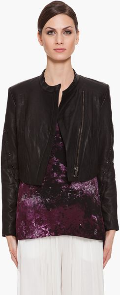 Helmut Lang Waxed Leather Jacket in Black