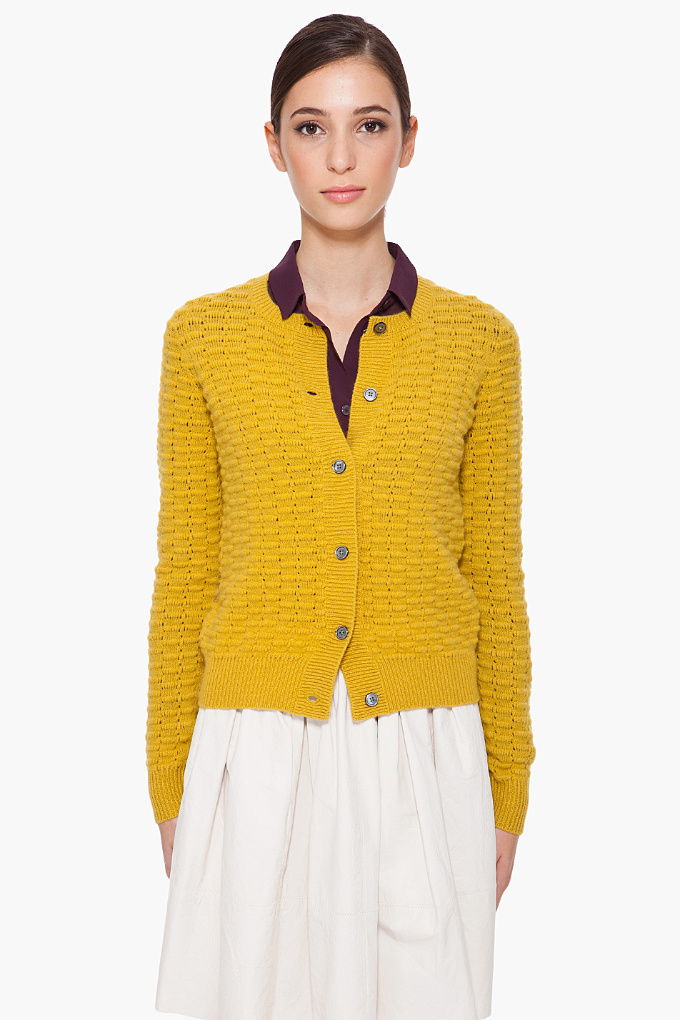 Marc jacobs Chartreuse Cashmere Cardigan in Yellow | Lyst