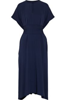 Jil Sander Warm Belted Silk-crepe Dress - Lyst
