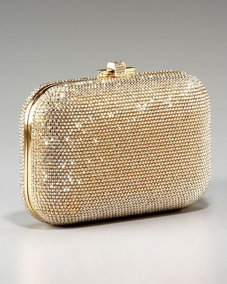 Judith Leiber Beaded Slidelock Clutch in Gold (silver) - Lyst