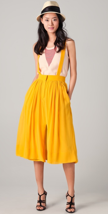 Yellow suspender skirt dresses
