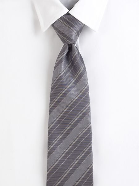 burberry striped silk twill tie in gray for grey lyst