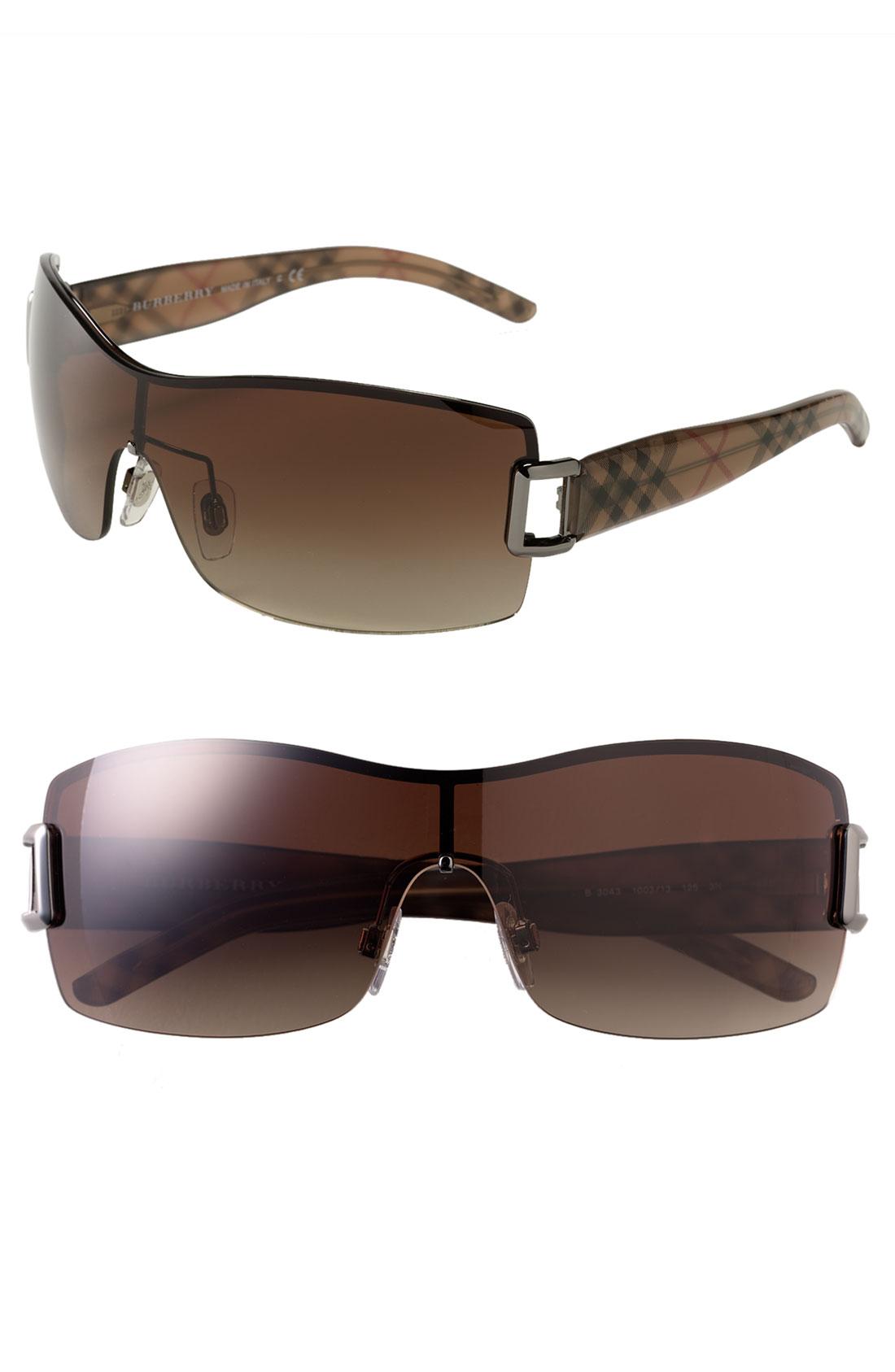 Burberry Rimless Glasses : Burberry Check Print Rimless Shield Sunglasses in Brown ...