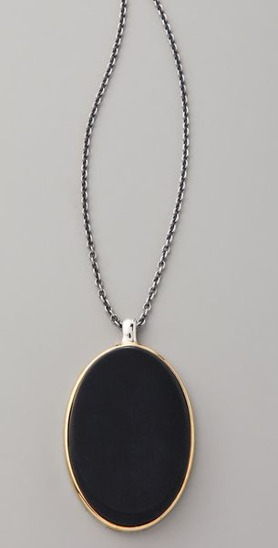 Elizabeth And James Saddle Matte Onyx Pendant Necklace - Lyst