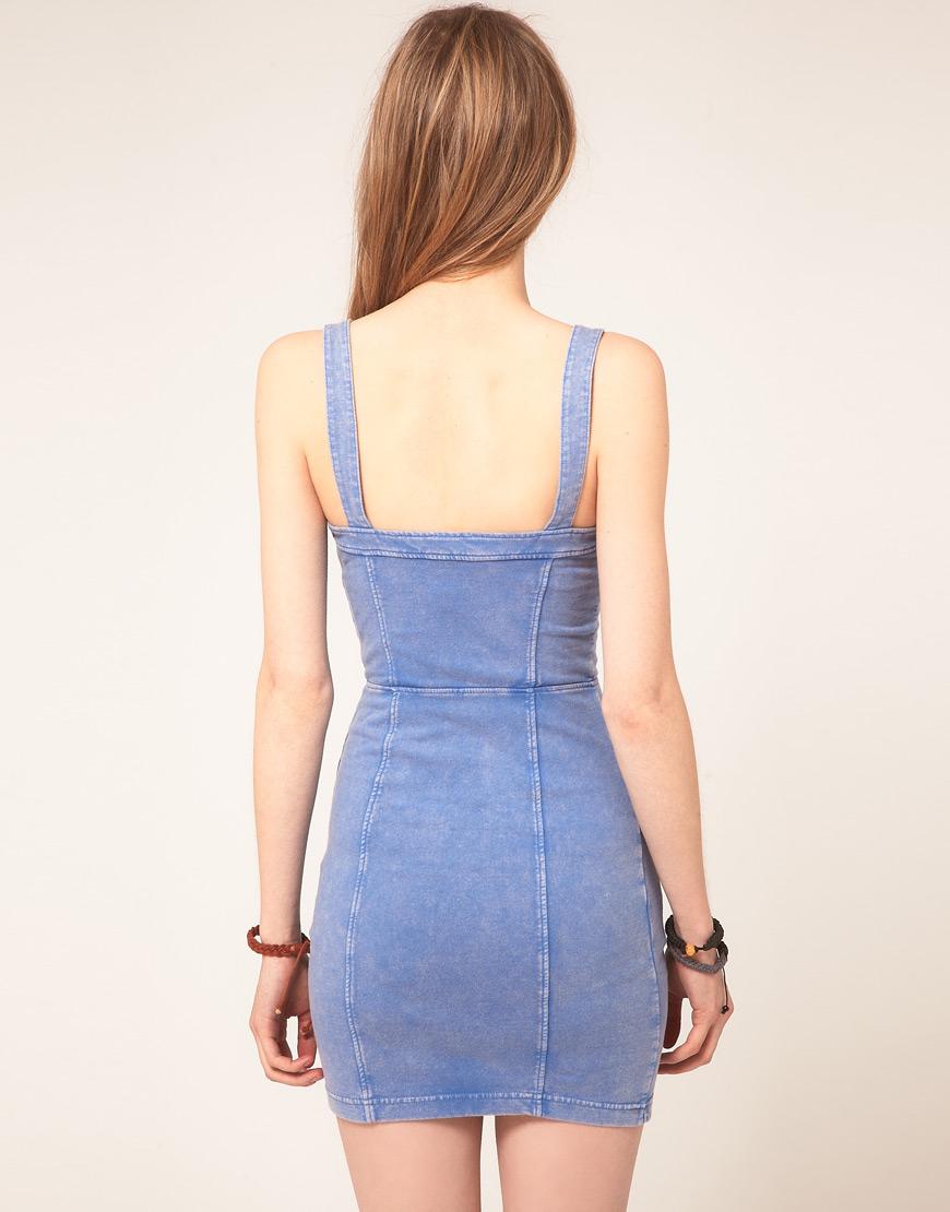 Free people Acid Denim Bodycon Dress in Blue | Lyst