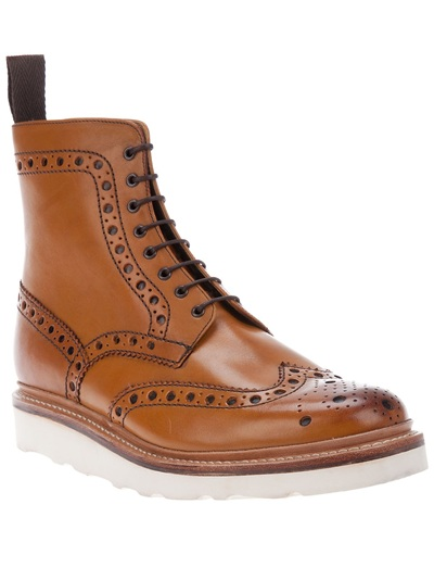 Lyst Foot The Coacher Tan Brogued Fred Vibram Boots In