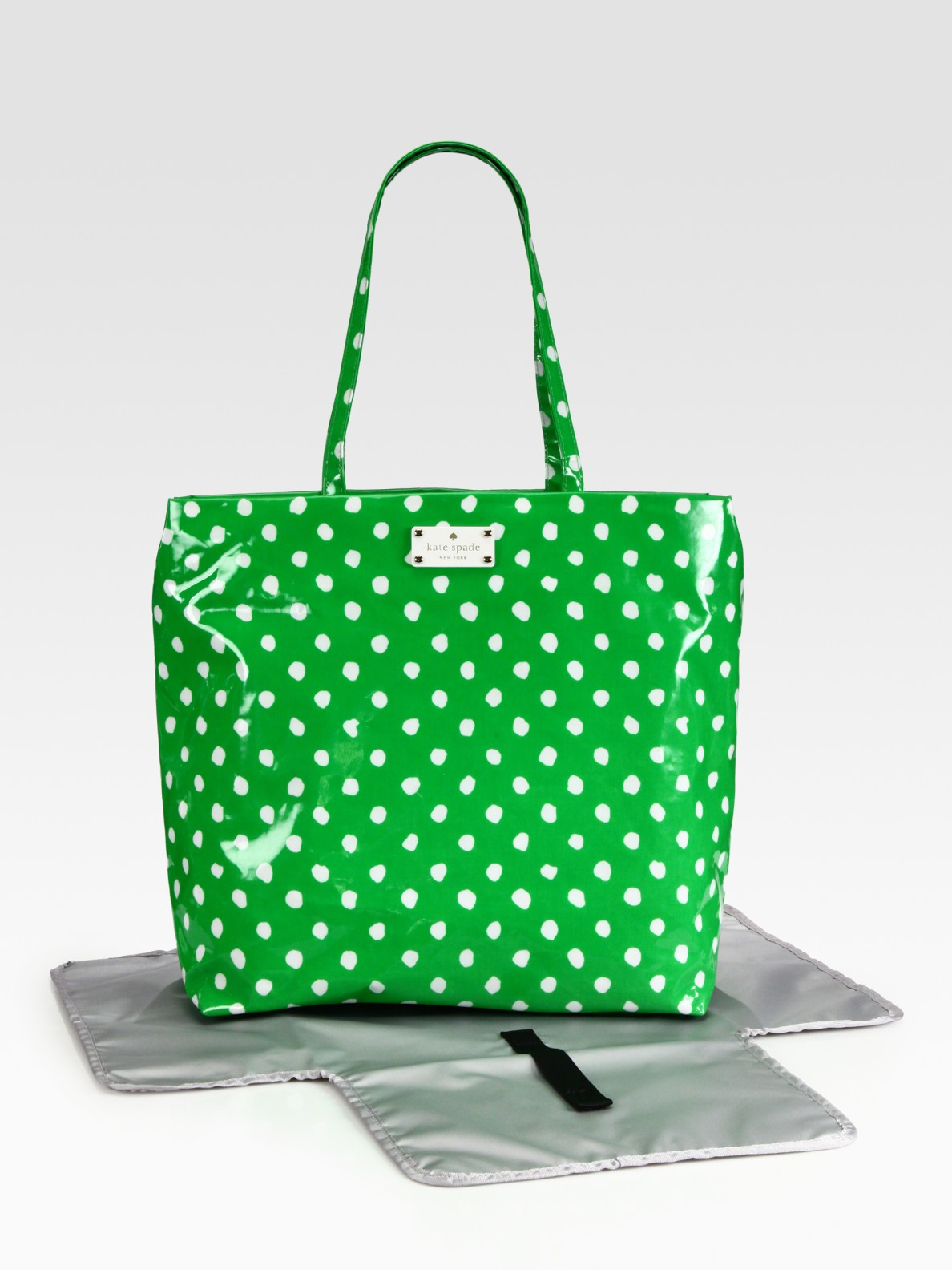 Lyst kate spade new york polka dot baby bag in green gallery junglespirit Image collections