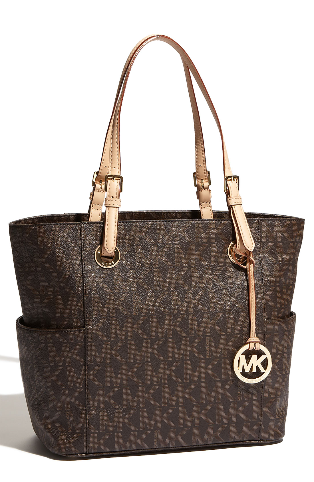 michael michael kors 39 jet set signature 39 tote in brown. Black Bedroom Furniture Sets. Home Design Ideas