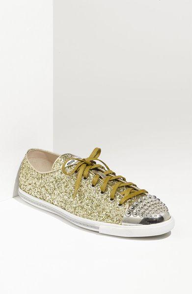 miu miu glitter 2 sneaker in gold gold glitter lyst. Black Bedroom Furniture Sets. Home Design Ideas