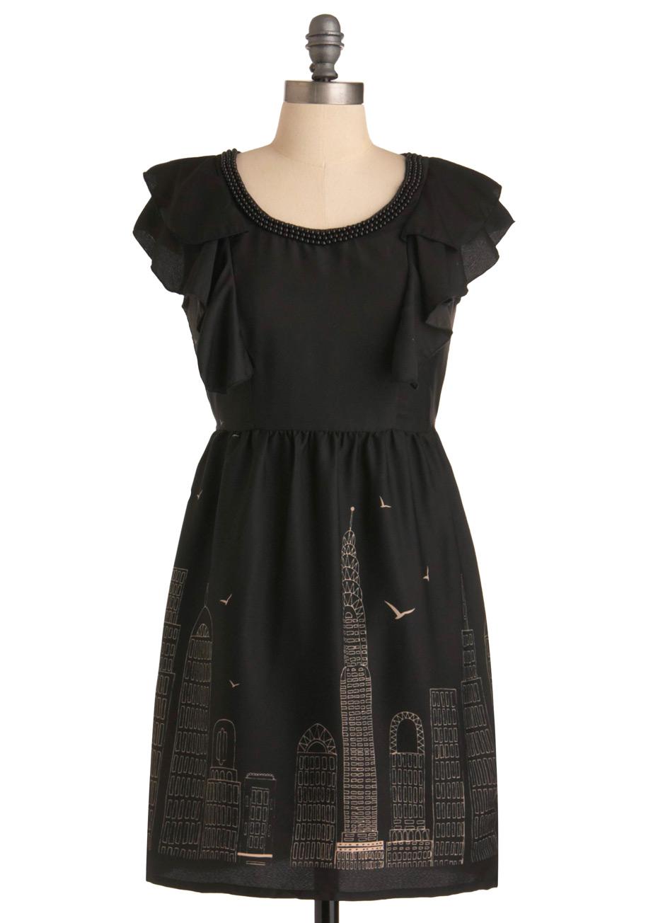 Modcloth skyline sketchbook dress in black wheat lyst