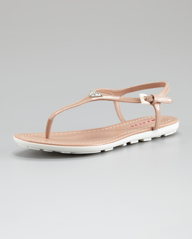 960f98b0c7a6da best cheap bafa9 53713 prada triangle patent thong sandal nero ...