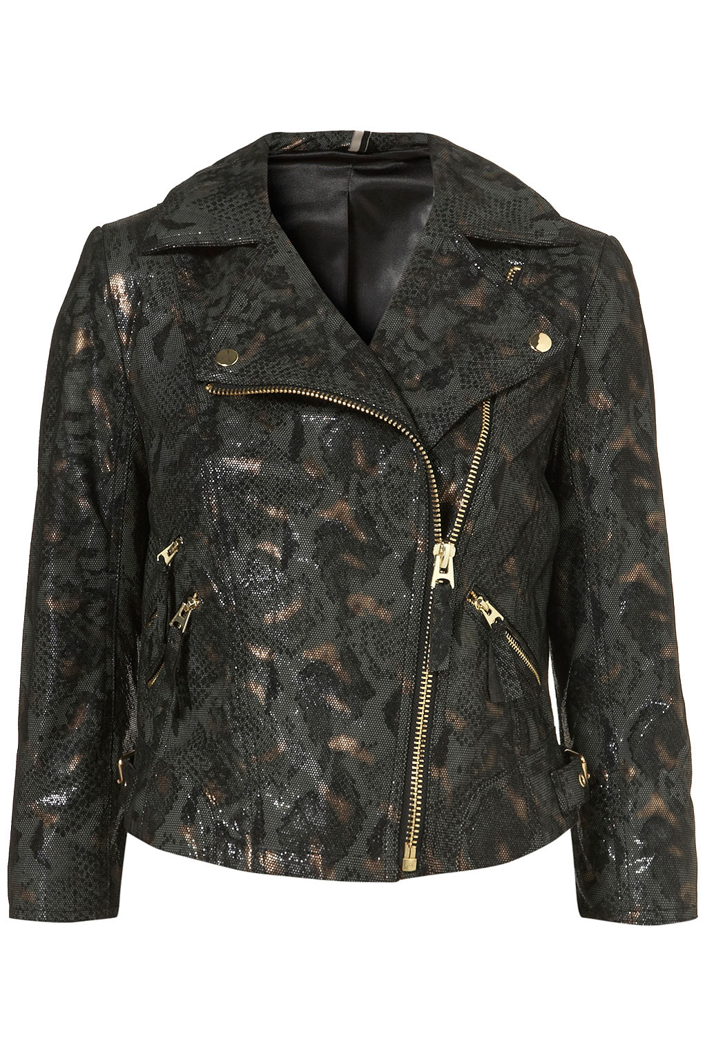 Lyst Topshop Metallic Snakeskin Leather Jacket In Green