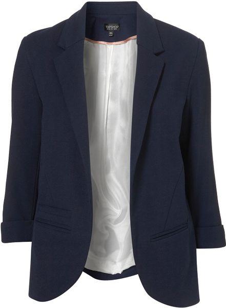 Topshop Ponte Boyfriend Blazer in Blue (navy blue)