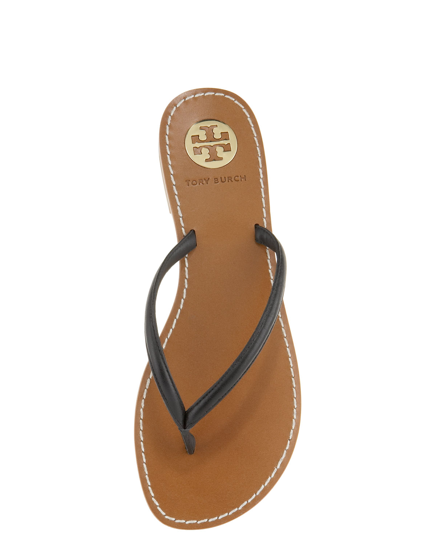 a3fad19e7671 Lyst - Tory Burch Abitha Leather Flip-Flops in Black