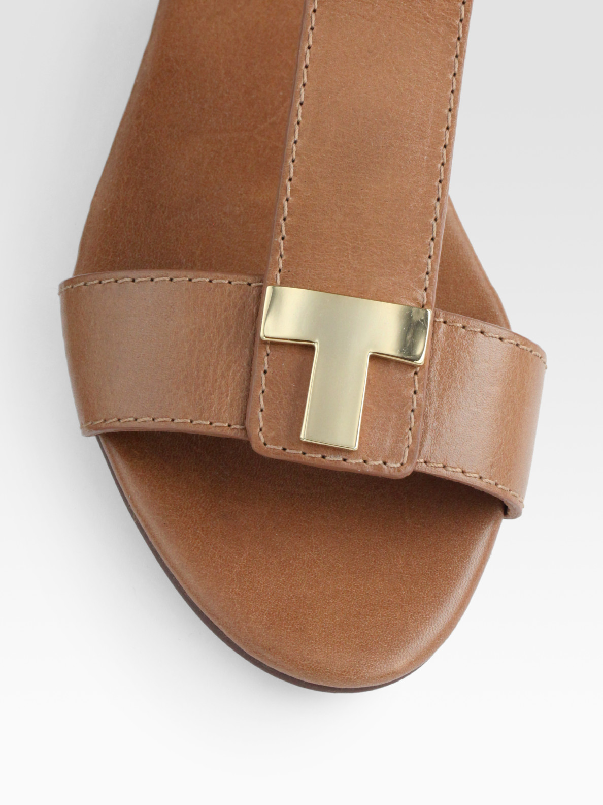 441590abef61 Lyst - Tory Burch Casey Leather T-strap Zip Sandals in Brown