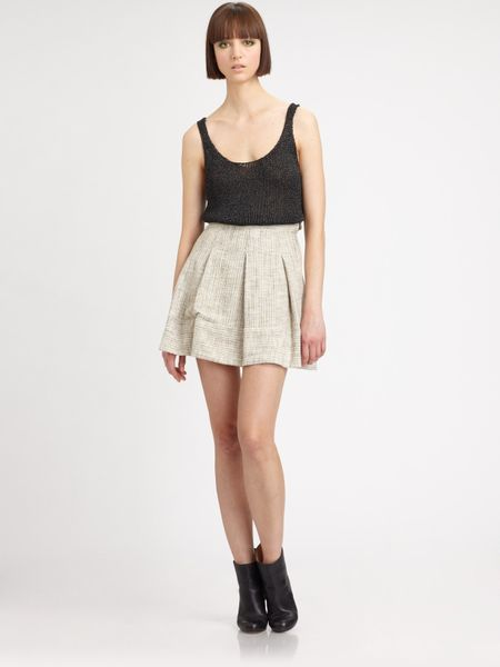 l agence pleated high waisted skirt in beige lyst