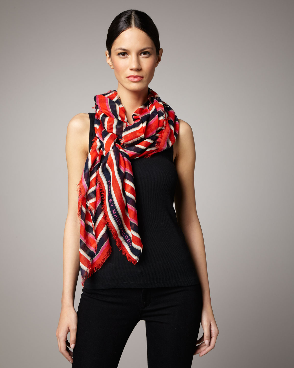 Marc by marc jacobs Stripey Lips Scarf in White