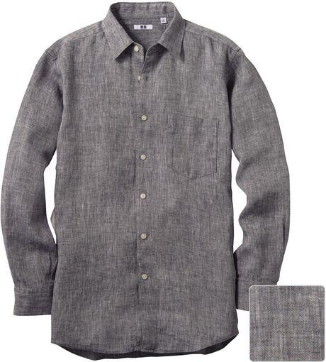 Uniqlo men premium linen long sleeve shirt in gray for men for Uniqlo premium t shirt