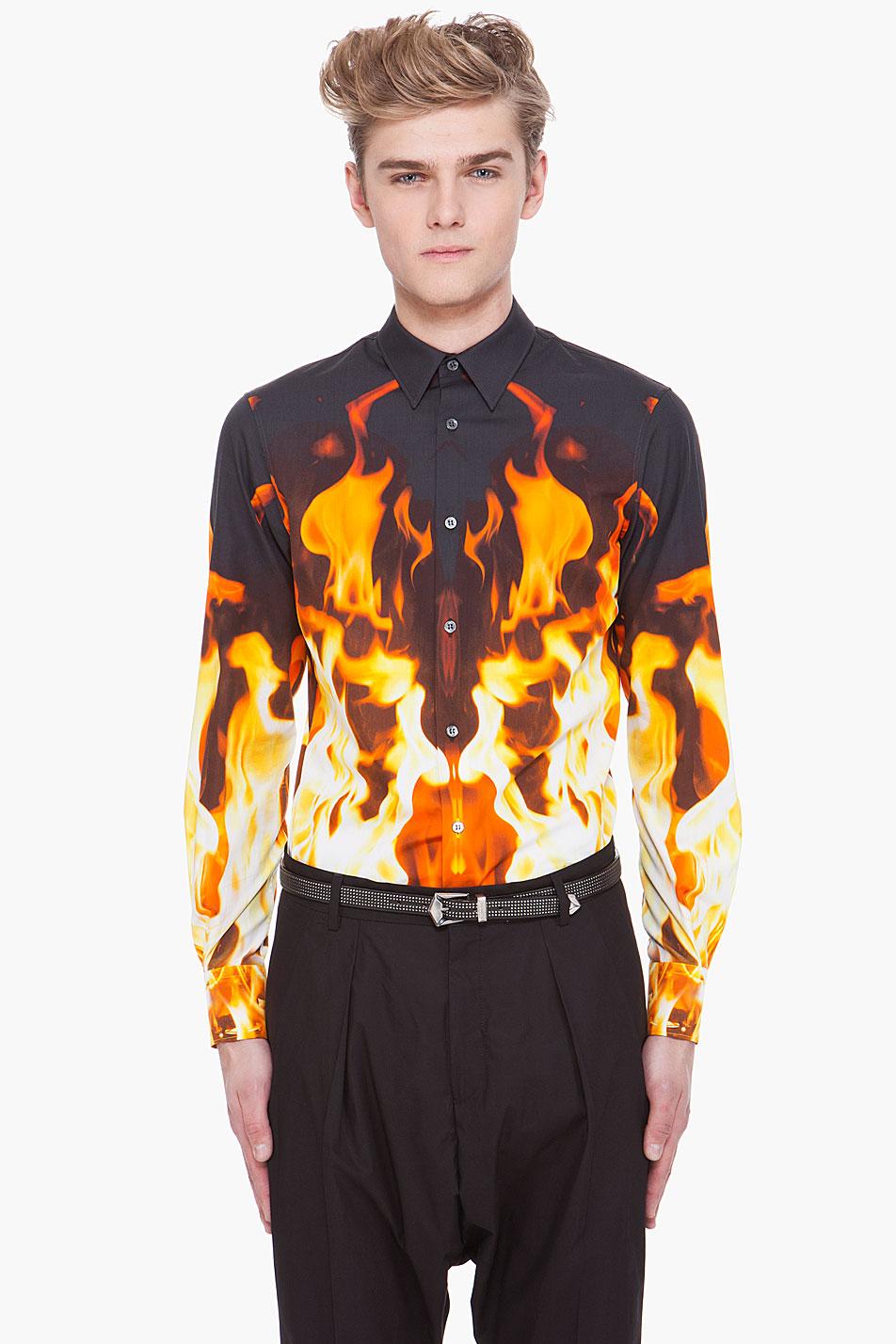 Alexander mcqueen fire print shirt in black for men lyst for Alexander mcqueen shirt men