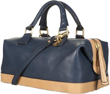 Topshop Leather Doctors Bag in Blue (navy blue)