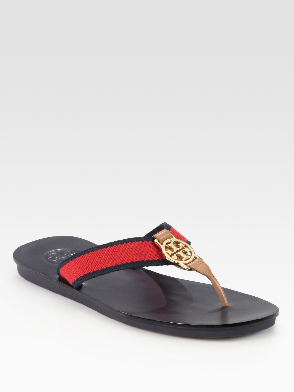25e20469a36c Lyst - Tory Burch Lise Leather-trim Canvas Logo Thong Sandals in Red