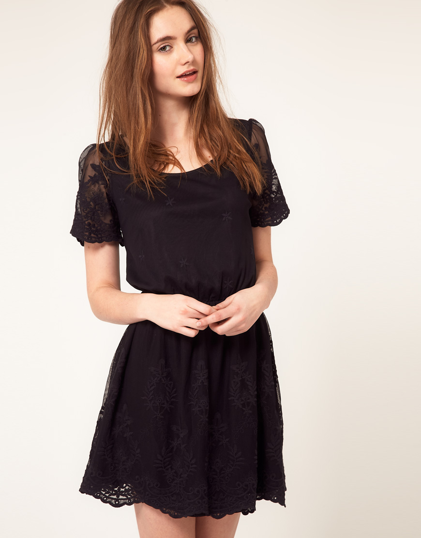 asos collection asos skater dress with embroidery in black
