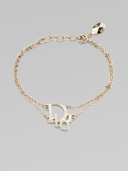 Dior Crystal Accented Signature Logo Bracelet in Gold