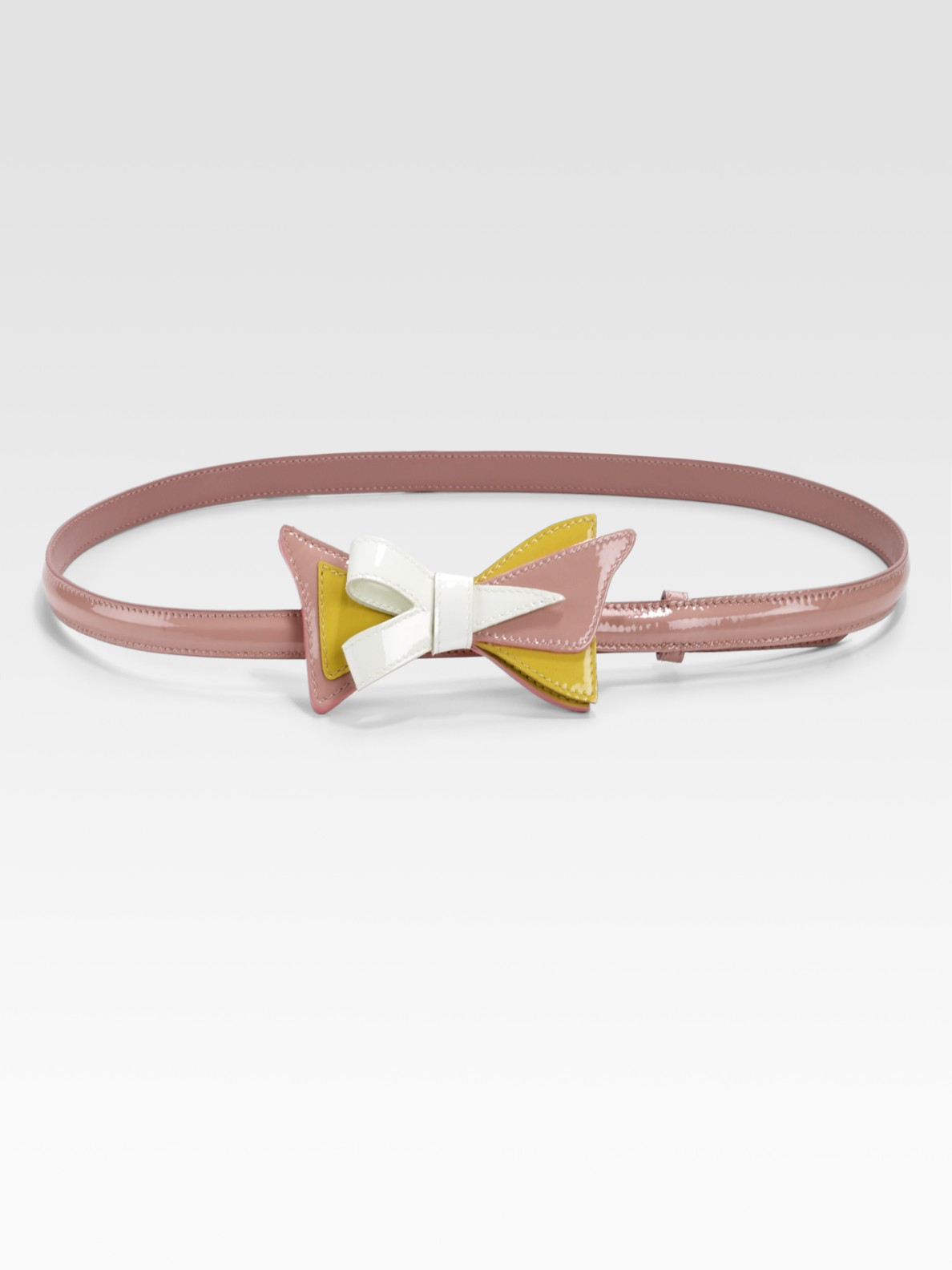 Prada Tri-colored Patent Leather Bow Belt in Blue (orchidea) | Lyst