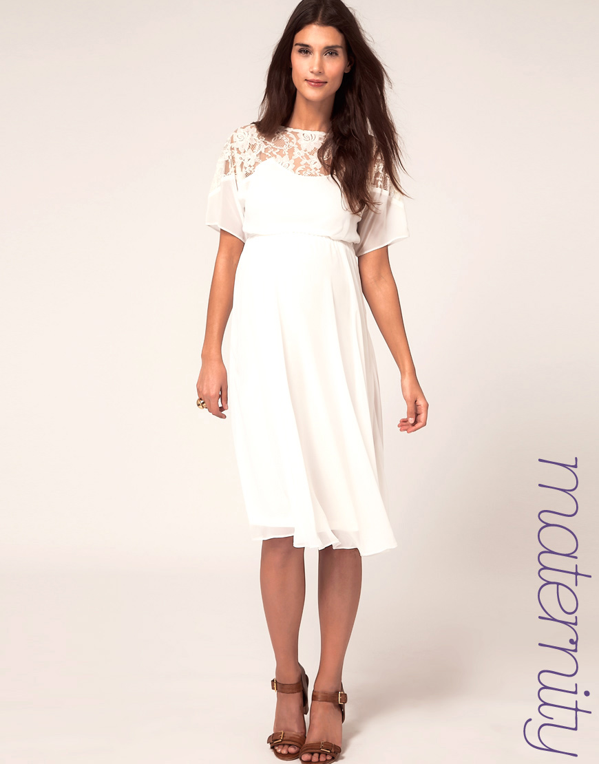 Lyst Asos Maternity Midi Dress With Lace Detail In White