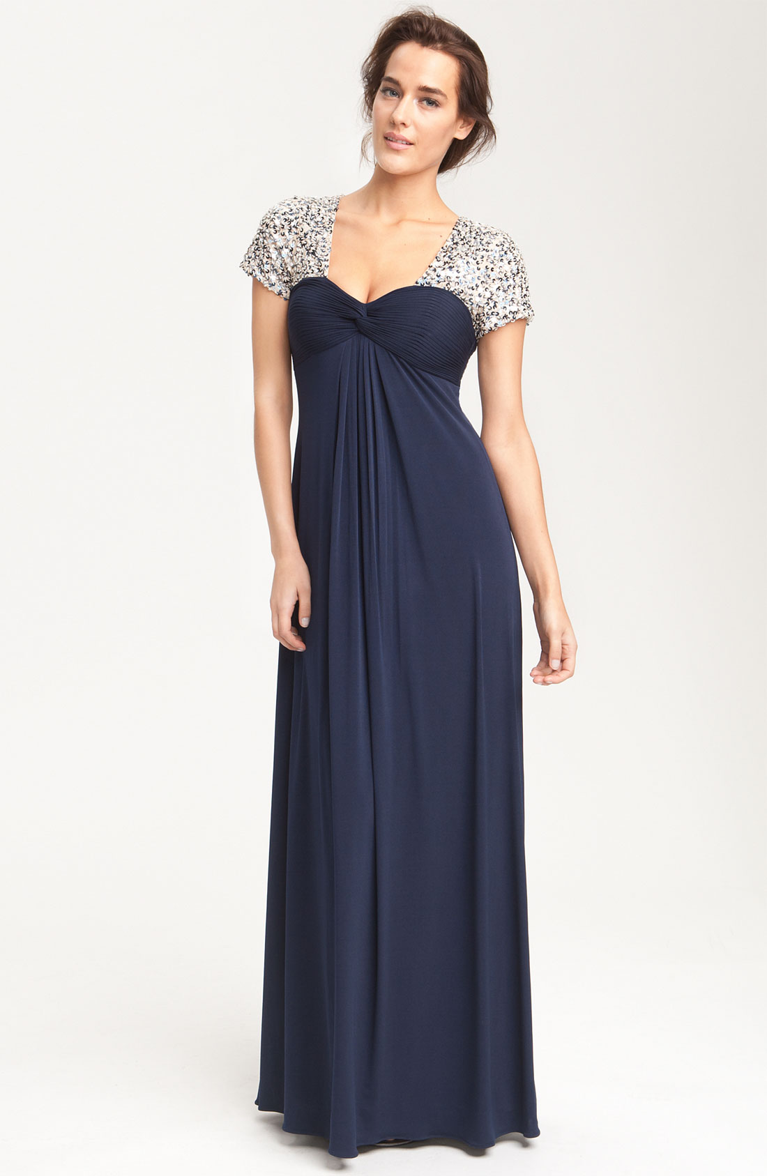 Lyst - Js boutique Sequin Trim Jersey Gown in Blue