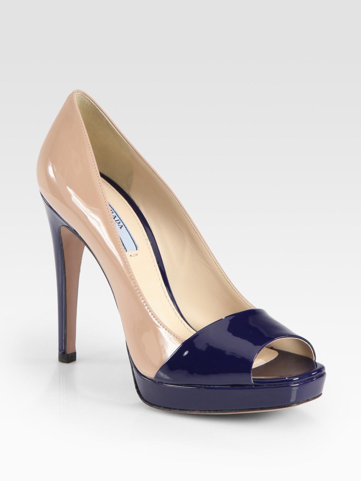 Black Patent Leather Platform Court Shoes