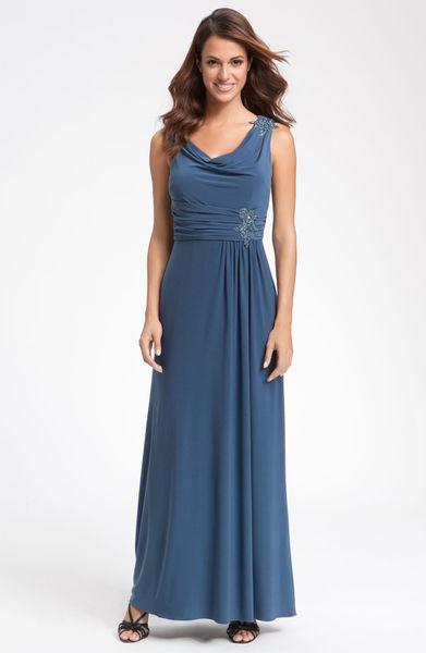 Alex Evenings Beaded Drape Neck Jersey Gown in Blue (smoke)
