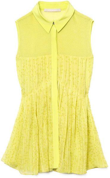 Jason Wu Sleeveless Pleated Blouse in Yellow - Lyst