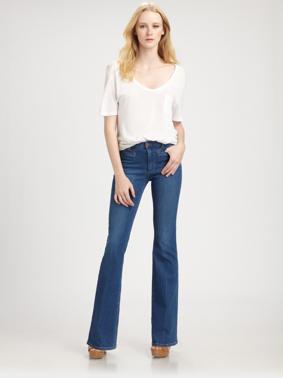 bd4e2fc661f Lyst - M.i.h Jeans Marrakesh Mid-Rise Kick Flare Jeans in Blue