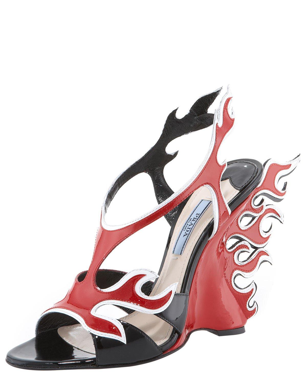 Prada Flame Wedge Sandals U0vwM