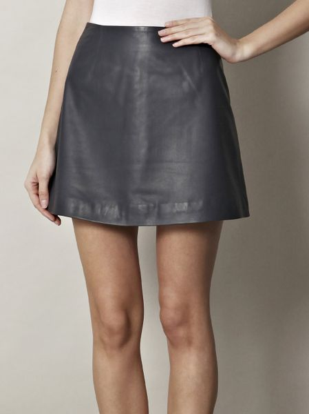 raoul leather a line skirt in blue navy lyst