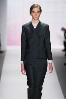 Tibi Fall 2012 Double Breasted Tailored Jacket With Skinny Collar And Two Front Pockets In Grey - Lyst