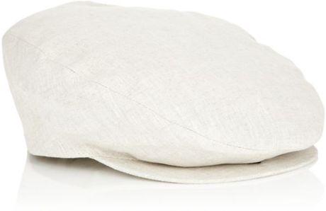 Borsalino Linen Flat Cap In White For Men Lyst