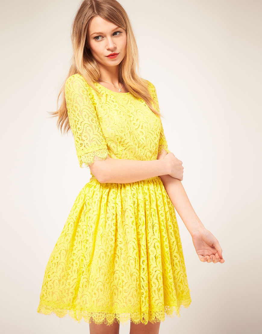 Darling Darling Lace Amelia Dress in Yellow | Lyst