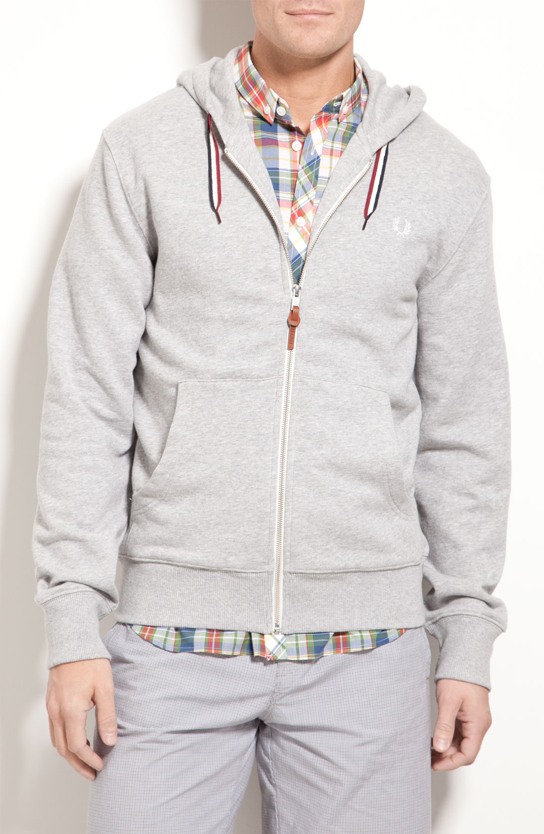fred perry zip hoodie in gray for men lyst. Black Bedroom Furniture Sets. Home Design Ideas