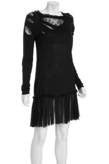 RED Valentino Black Slashed Jersey, Lace and Tulle Long Sleeve Dress - Lyst
