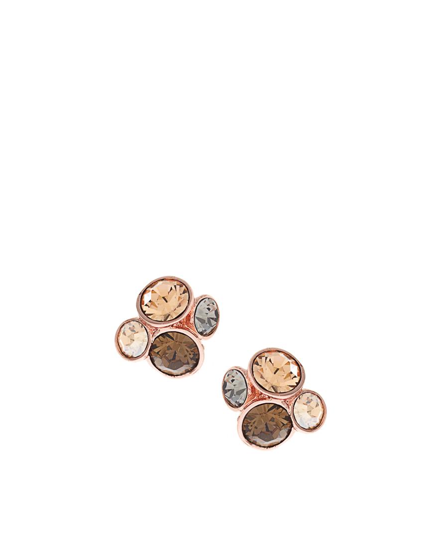ted baker rose gold jewel cluster stud earrings in gold. Black Bedroom Furniture Sets. Home Design Ideas